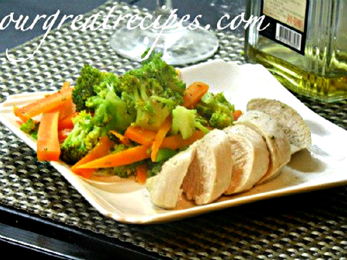 Poached Chicken Breast with Vegetables