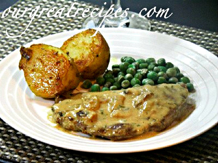 Steak Diane Sauce with Peas and Potatoes