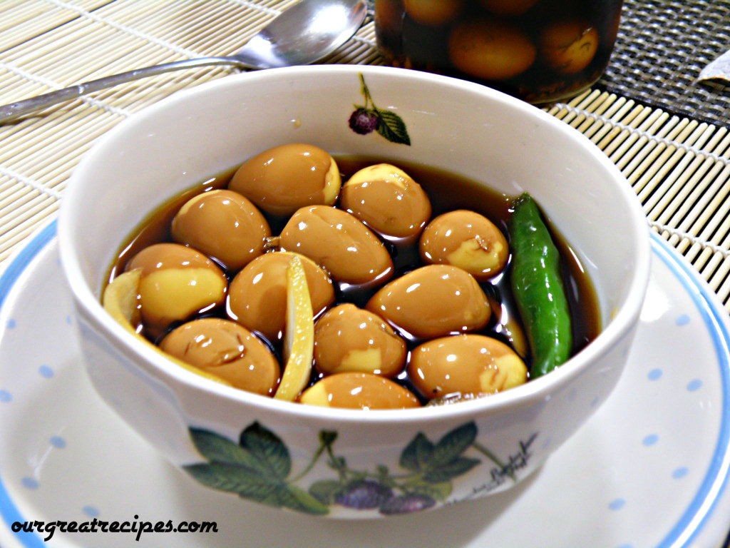 Quail Eggs in Soy Sauce